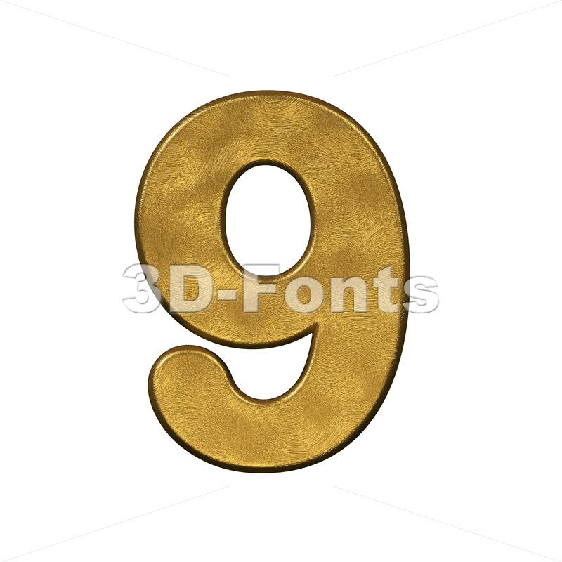 gold number 9 - 3d digit - 3d-fonts