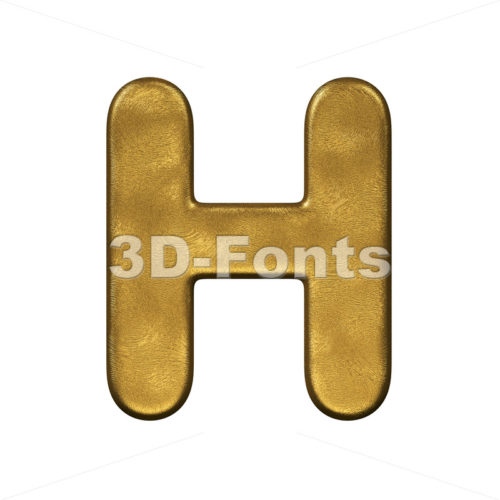 golden 3d letter H - Upper-case 3d character - 3d-fonts