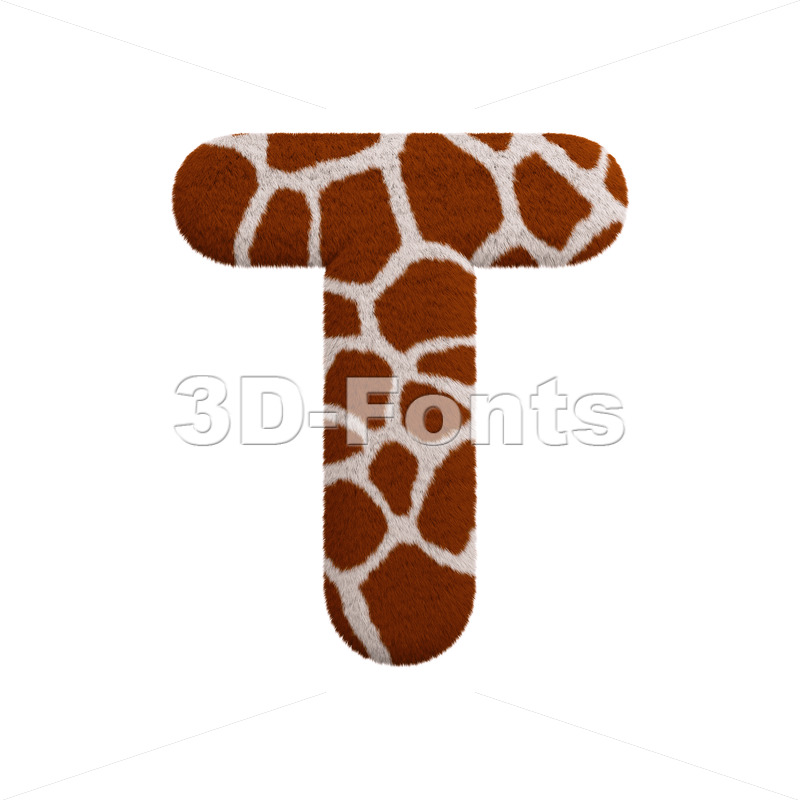safari character T - Uppercase 3d letter - 3d-fonts