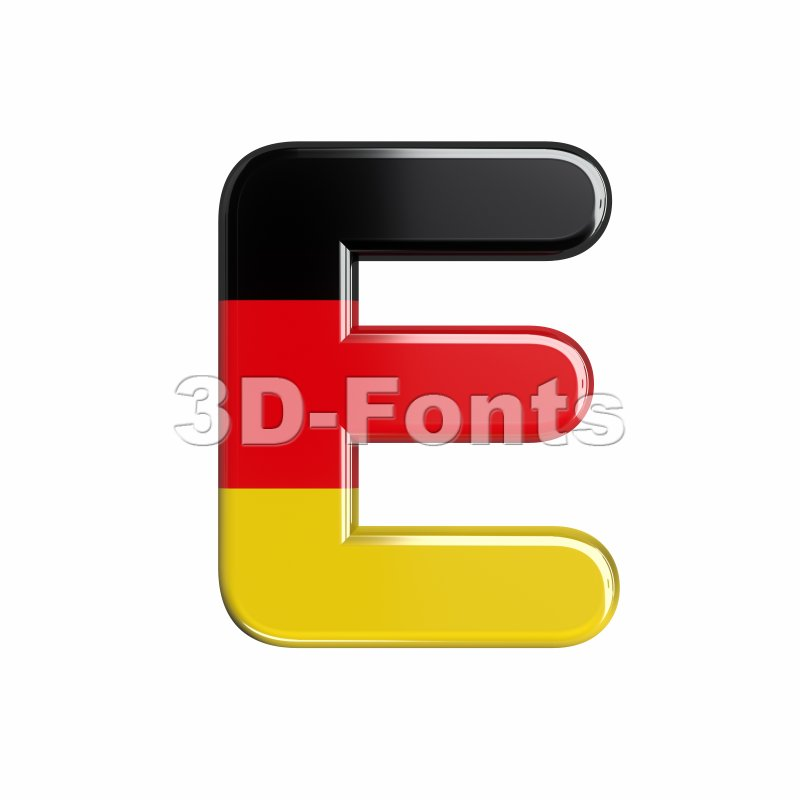 3d Capital character E covered in Germany texture - 3d-fonts