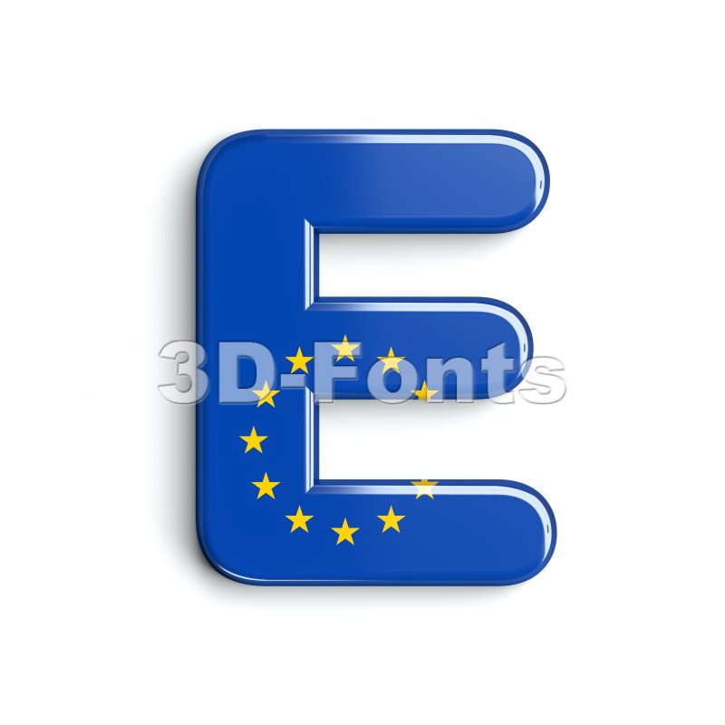 3d Capital character E covered in european texture - 3d-fonts