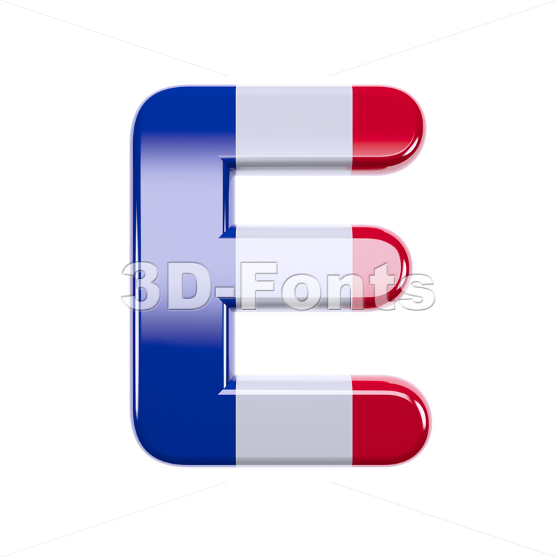 3d Capital character E covered in french texture - 3d-fonts