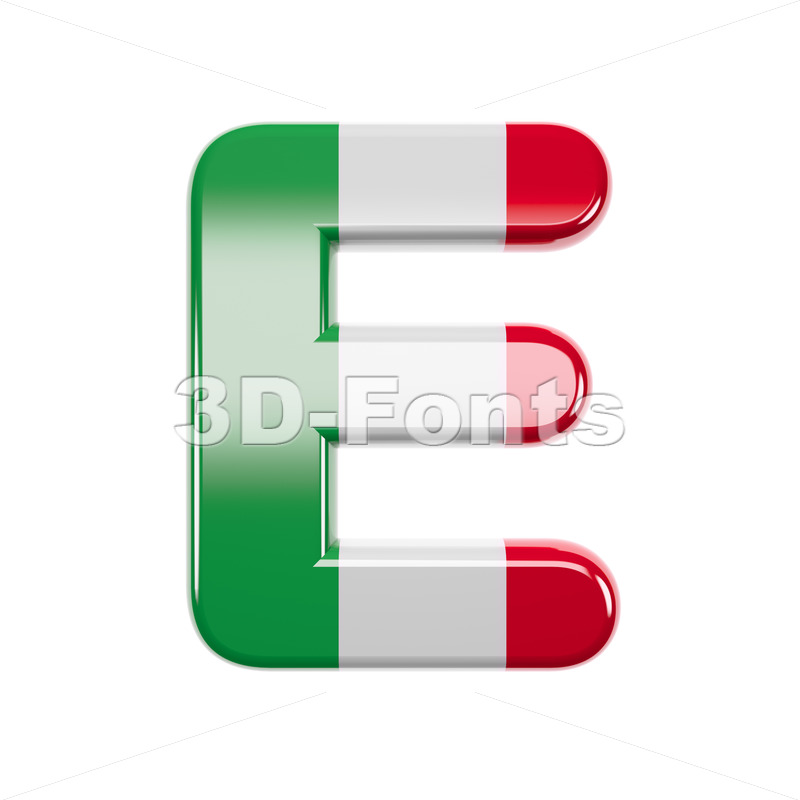 3d Capital character E covered in italian texture - 3d-fonts