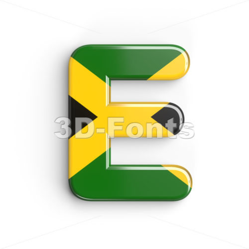 3d Capital character E covered in jamaican flag texture - 3d-fonts