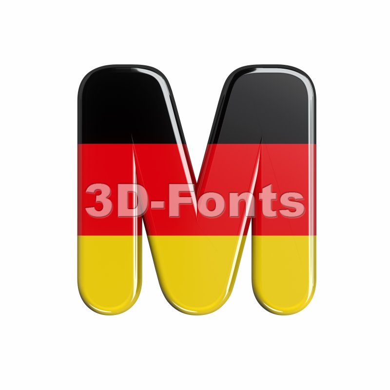 3d Capital character M covered in Germany texture - 3d-fonts