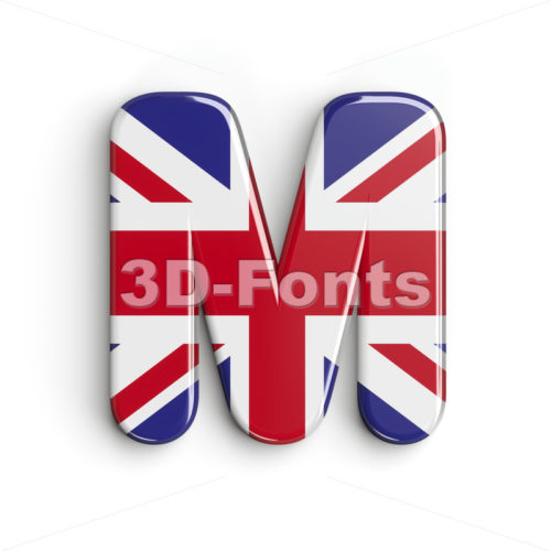 3d Capital character M covered in Union texture - 3d-fonts