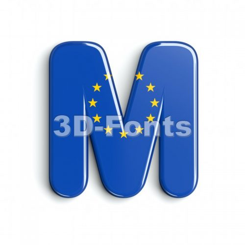 3d Capital character M covered in european texture - 3d-fonts