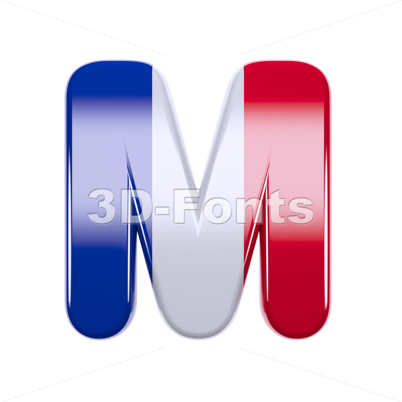 3d Capital character M covered in french texture - 3d-fonts