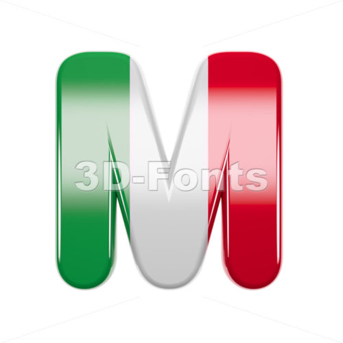 3d Capital character M covered in italian texture - 3d-fonts