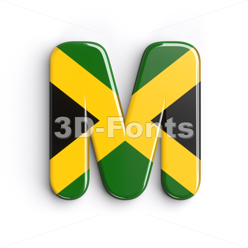 3d Capital character M covered in jamaican flag texture - 3d-fonts