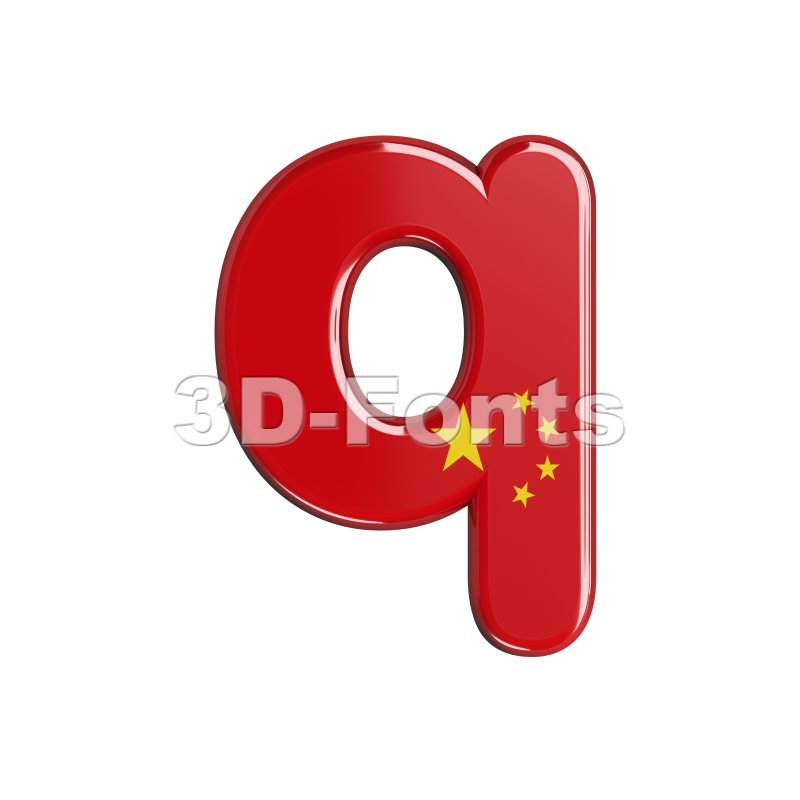 3d Lower-case font Q covered in China flag texture - 3d-fonts
