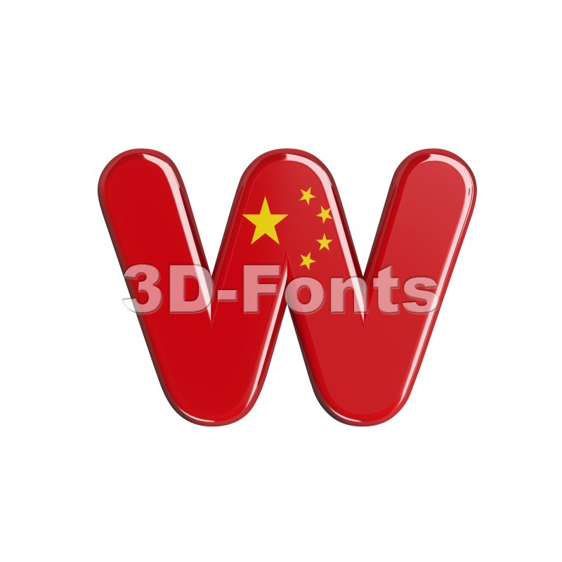 3d Lower-case letter W covered in China flag texture - 3d-fonts