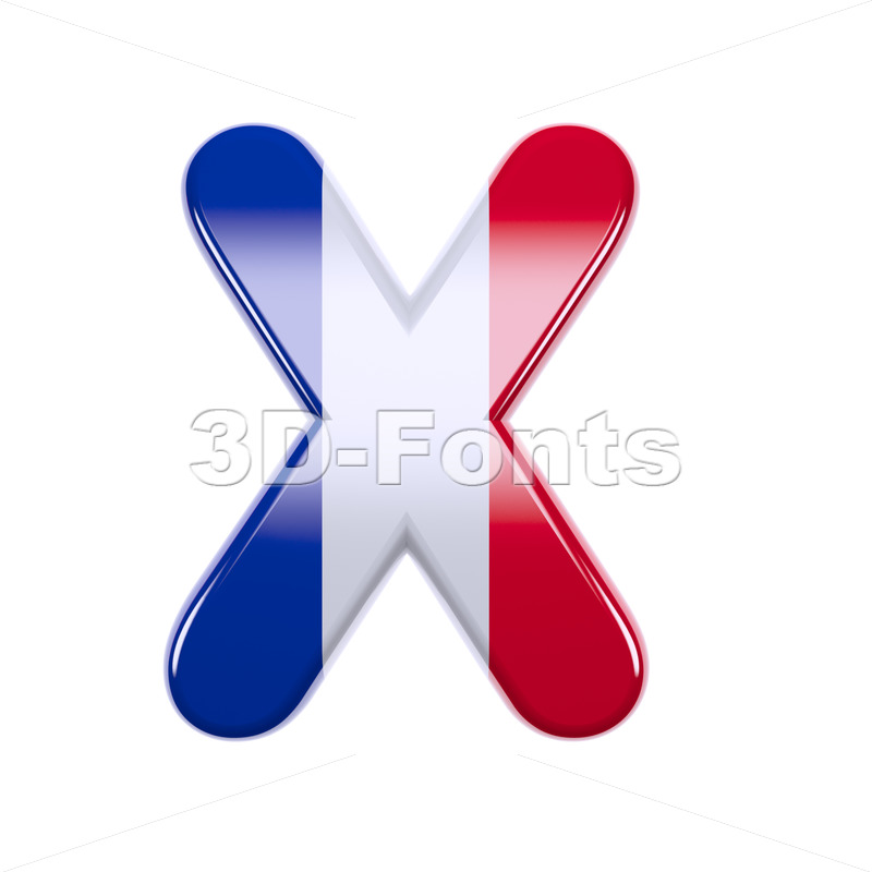 3d Upper-case character X covered in french texture - 3d-fonts