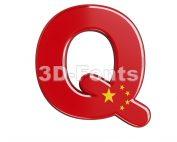 3d Upper-case font Q covered in China texture - 3d-fonts.com