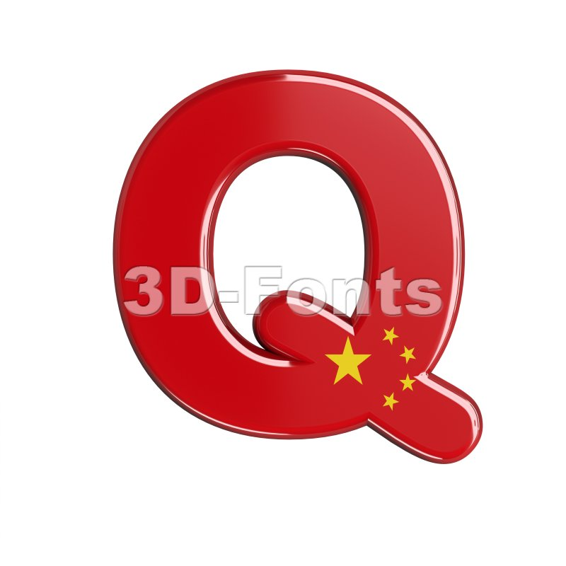 3d Upper-case font Q covered in China texture - 3d-fonts
