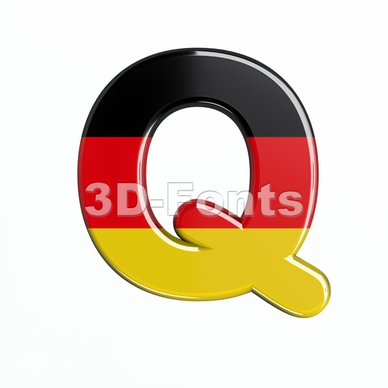 3d Upper-case font Q covered in Germany texture - 3d-fonts
