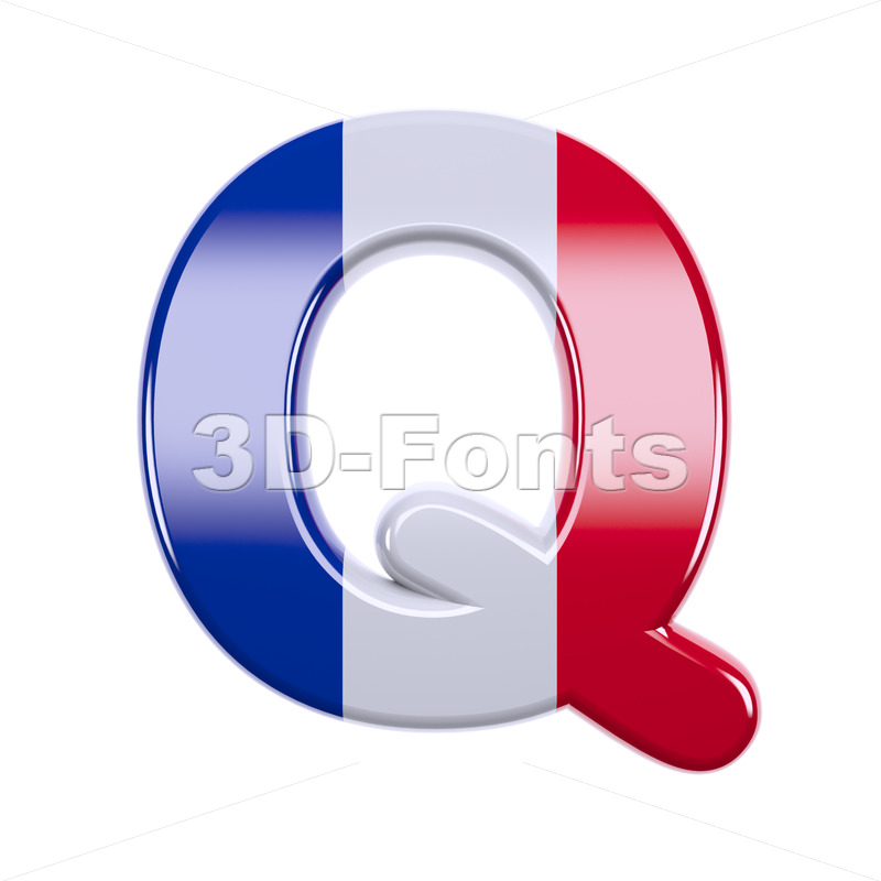 3d Upper-case font Q covered in french texture - 3d-fonts