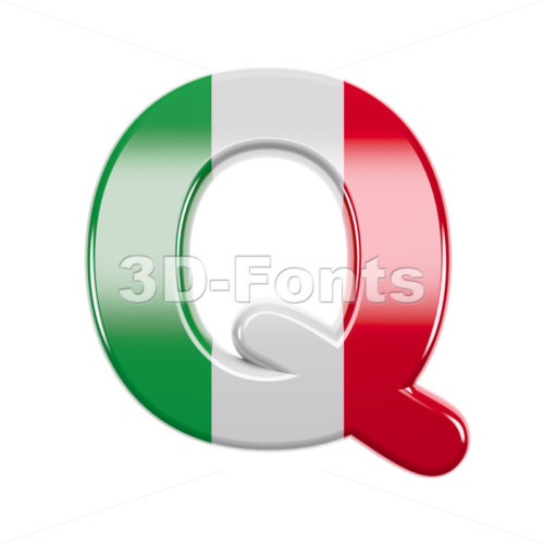 3d Upper-case font Q covered in italian texture - 3d-fonts