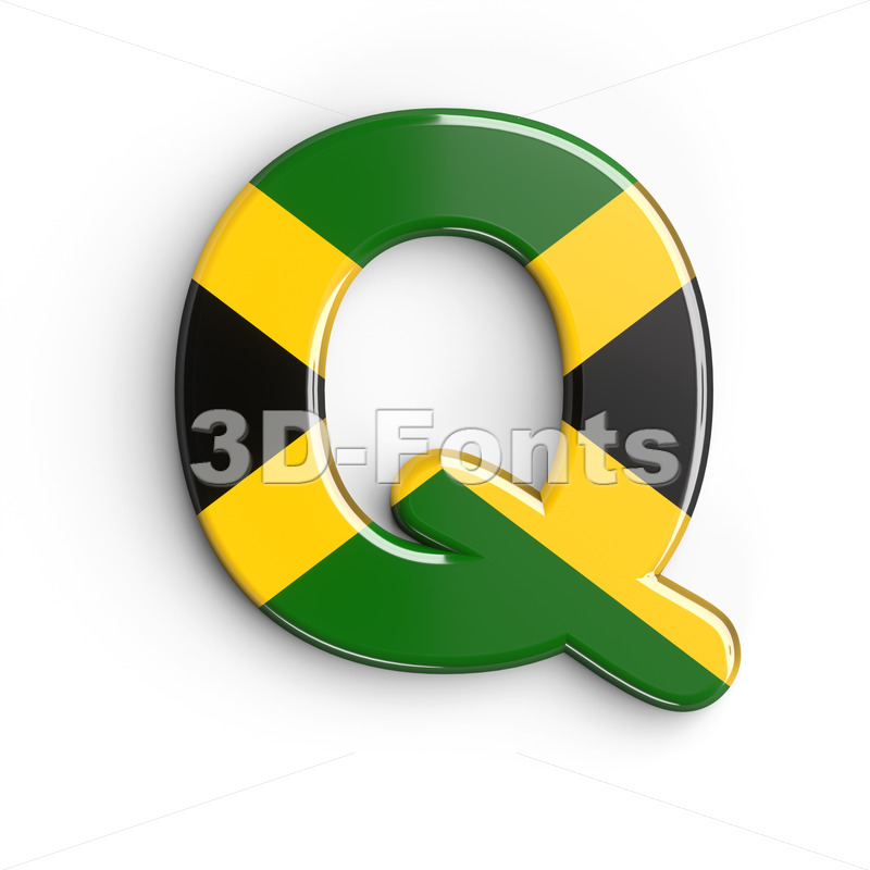 3d Upper-case font Q covered in jamaican flag texture - 3d-fonts