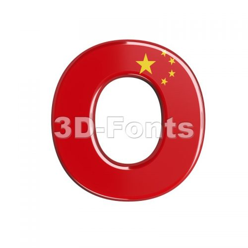 3d Upper-case letter O covered in chinese flag texture - 3d-fonts