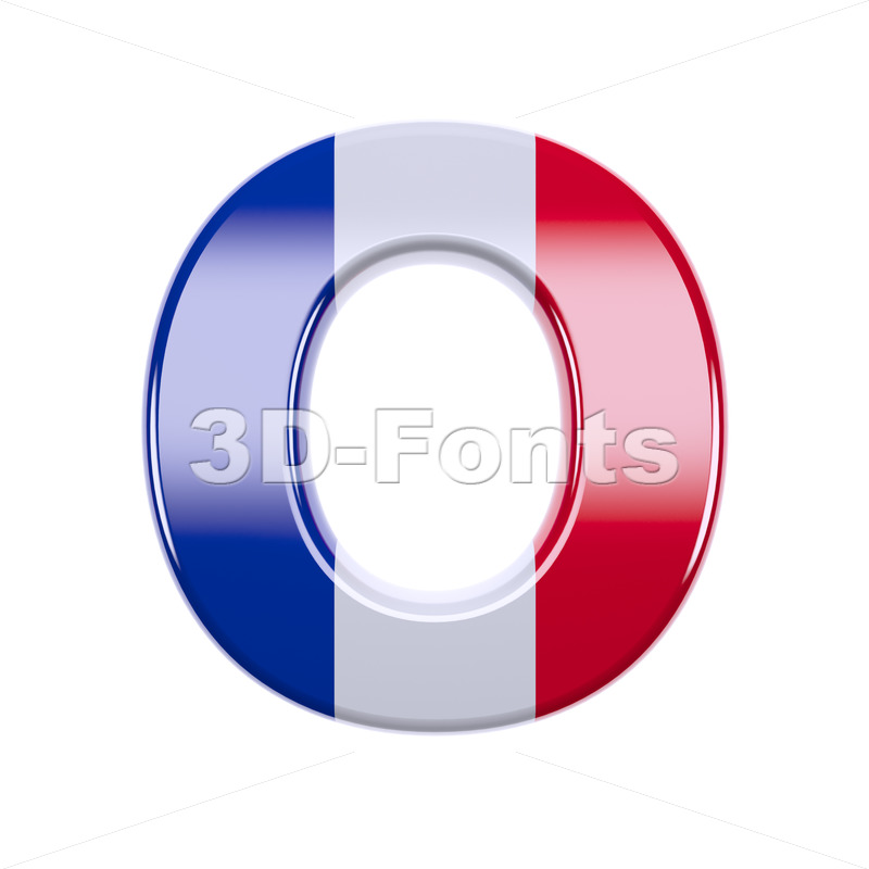 3d Upper-case letter O covered in french flag texture - 3d-fonts