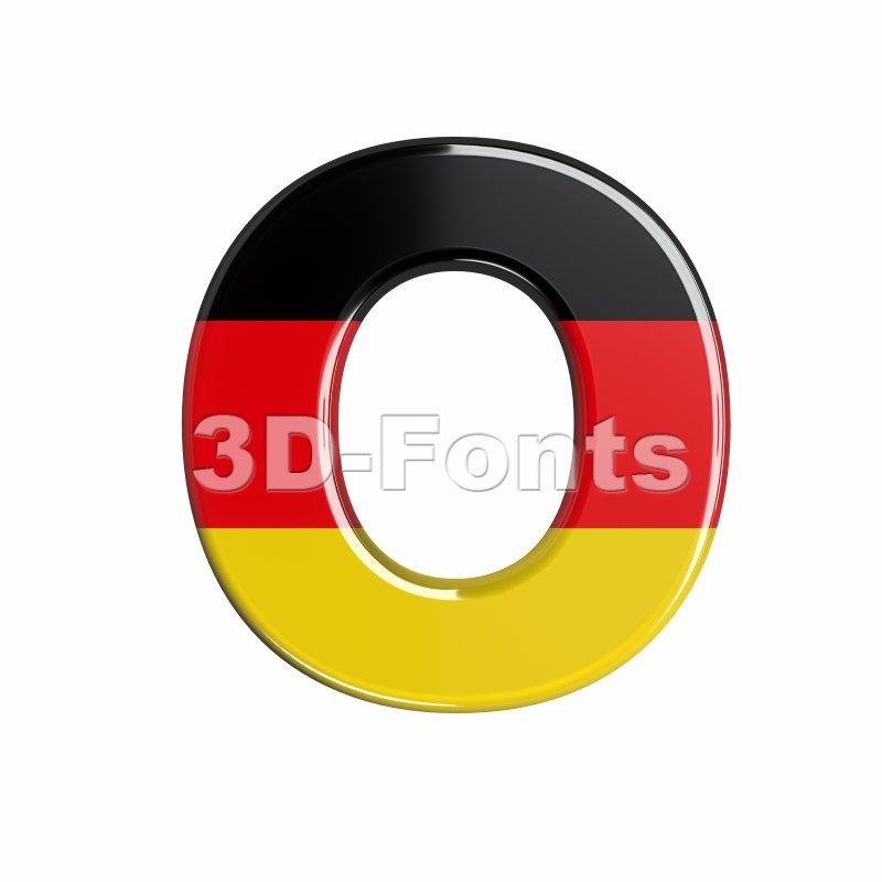 3d Upper-case letter O covered in german flag texture - 3d-fonts