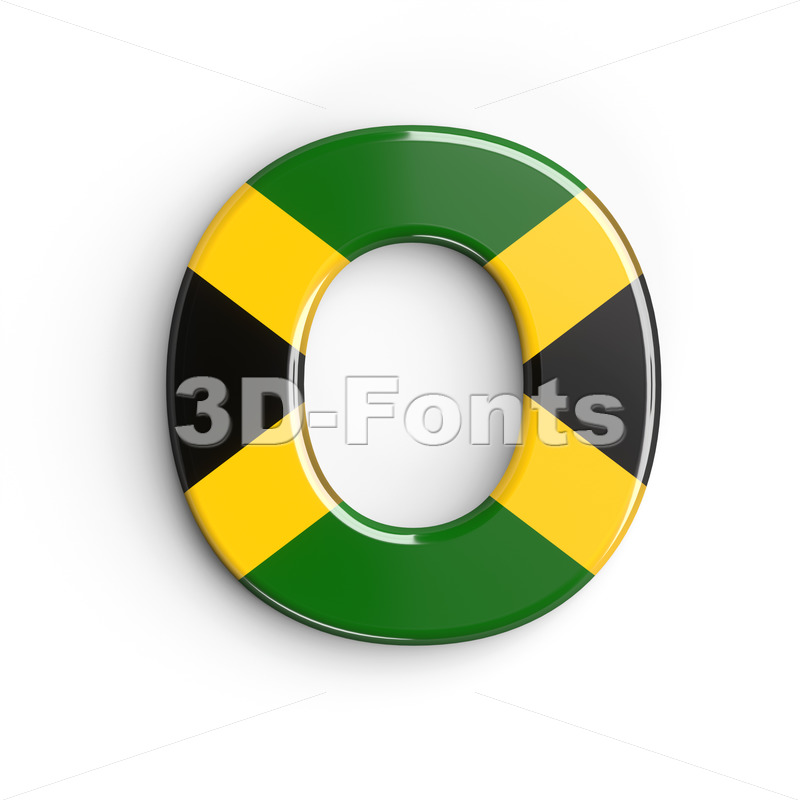 3d Upper-case letter O covered in jamaica flag texture - 3d-fonts