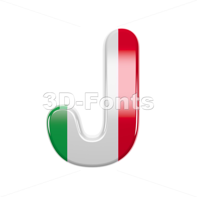 3d Uppercase font J covered in italy flag colors texture - 3d-fonts