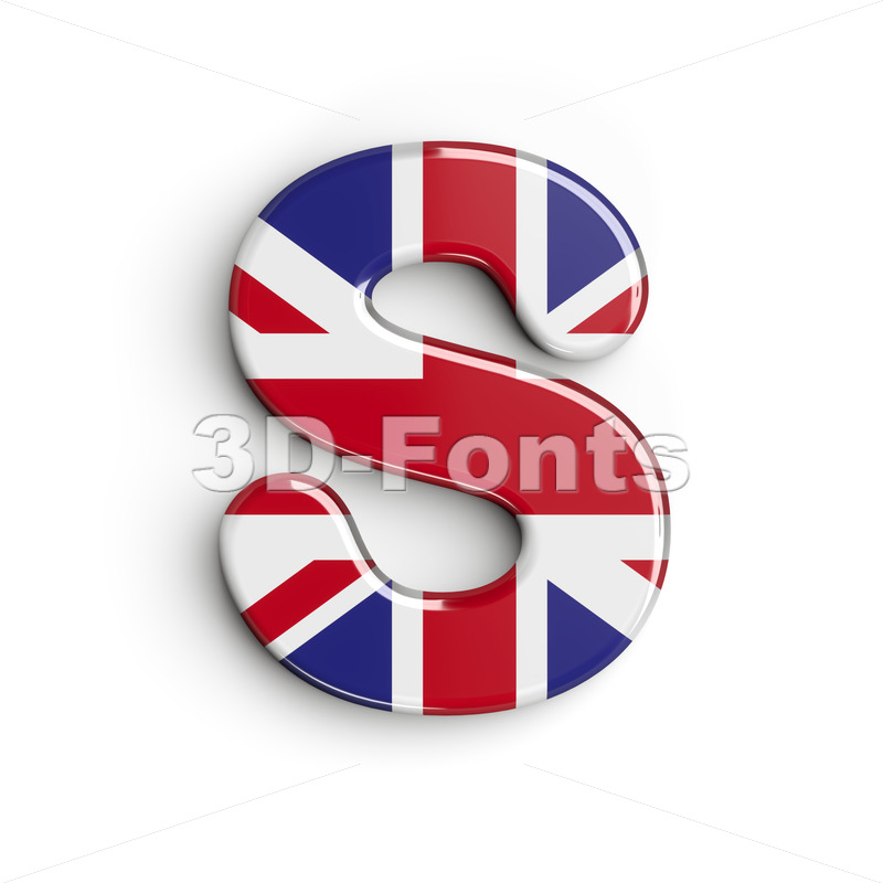 3d Uppercase font S covered in british flag texture - 3d-fonts