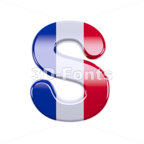 3d Uppercase font S covered in french flag texture - 3d-fonts