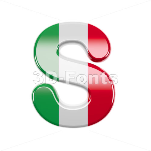 3d Uppercase font S covered in italian flag texture - 3d-fonts