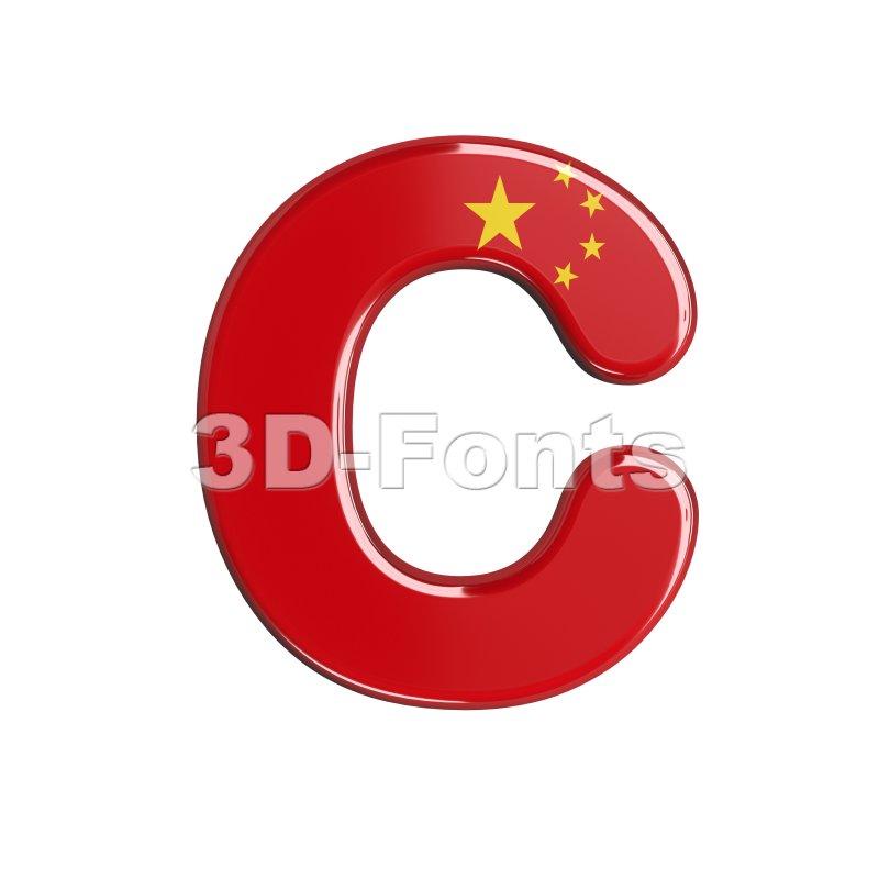 3d chinese flag font C - Capital 3d letter - 3d-fonts
