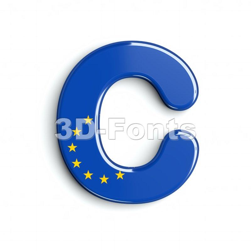 3d eu flag font C - Capital 3d letter - 3d-fonts