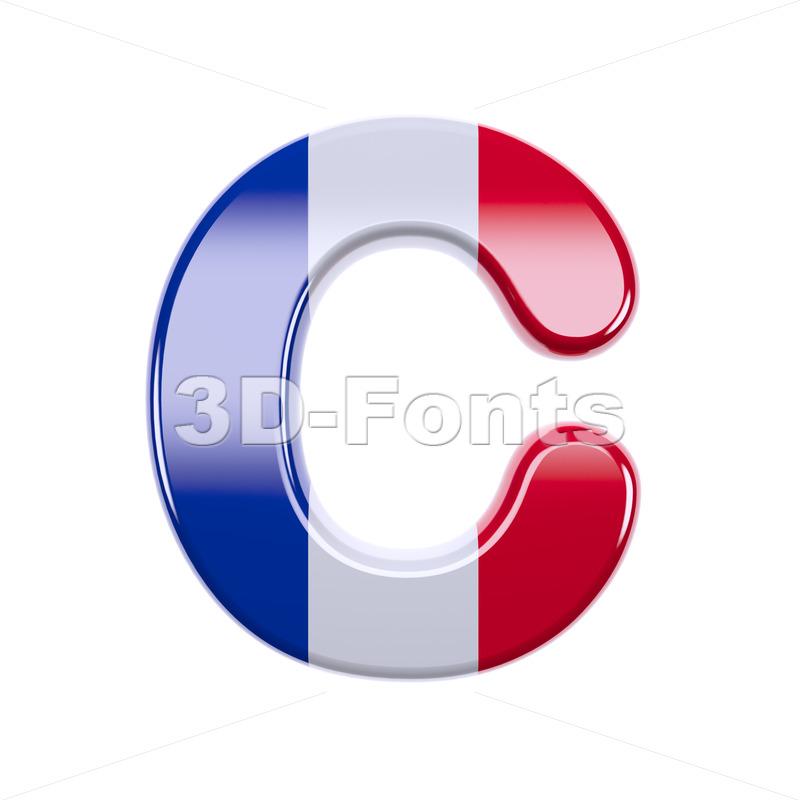 3d french flag font C - Capital 3d letter - 3d-fonts