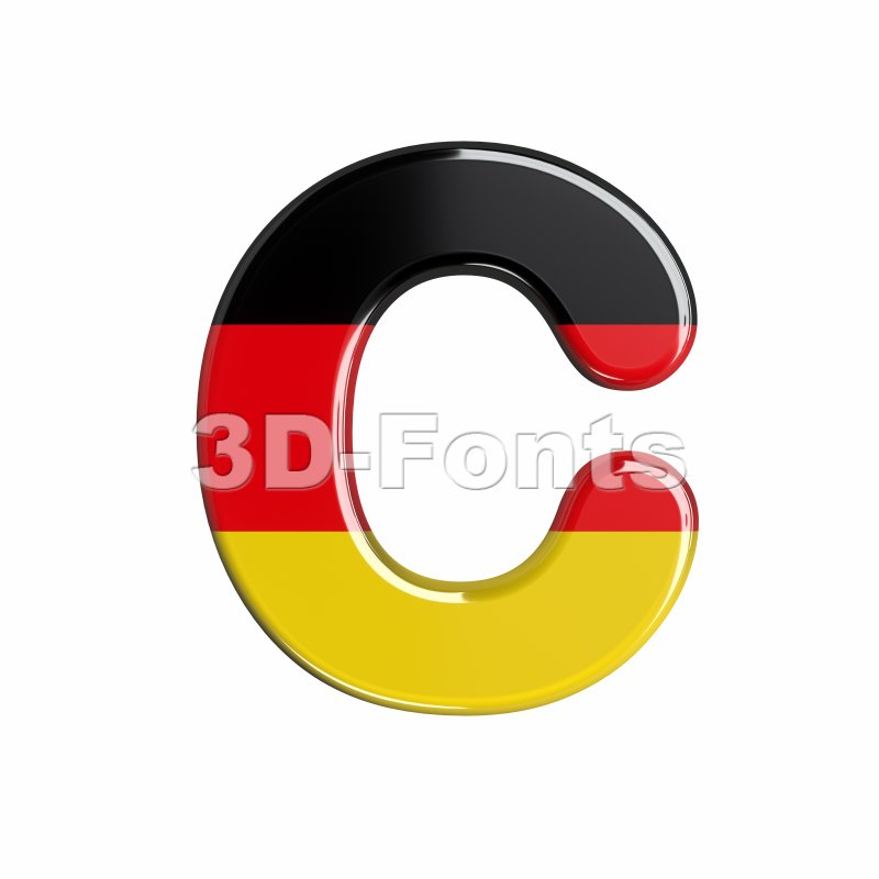 3d german flag font C - Capital 3d letter - 3d-fonts