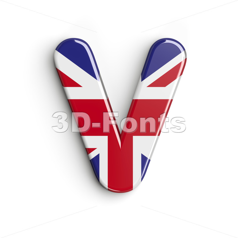 Capital british flag letter V - Upper-case 3d character - 3d-fonts