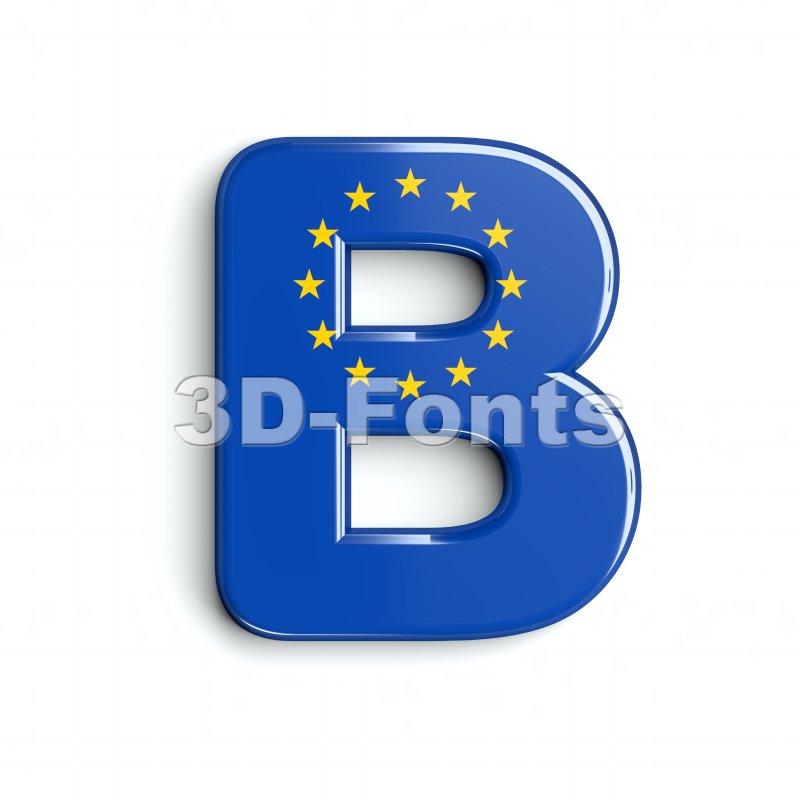 Capital europe flag letter B - Upper-case 3d font - 3d-fonts
