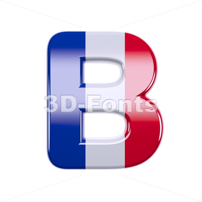 Capital french flag colors letter B - Upper-case 3d font - 3d-fonts