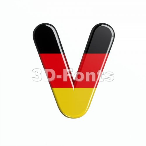 Capital german flag letter V - Upper-case 3d character - 3d-fonts