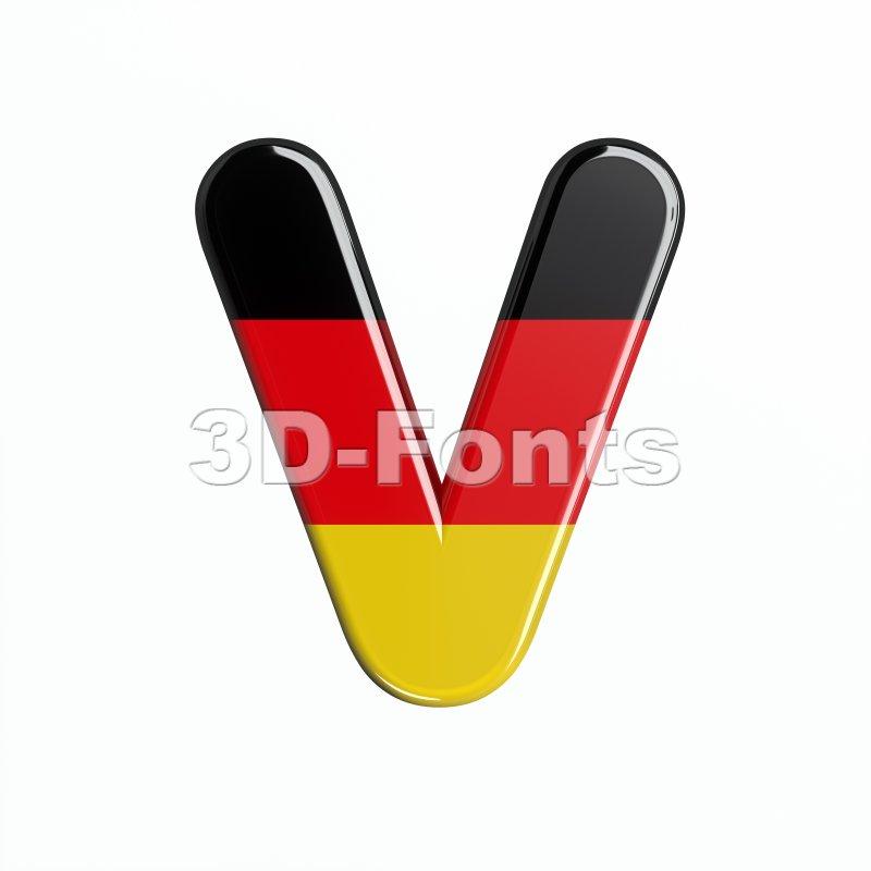 Capital german flag letter V - Upper-case 3d character - 3d-fonts