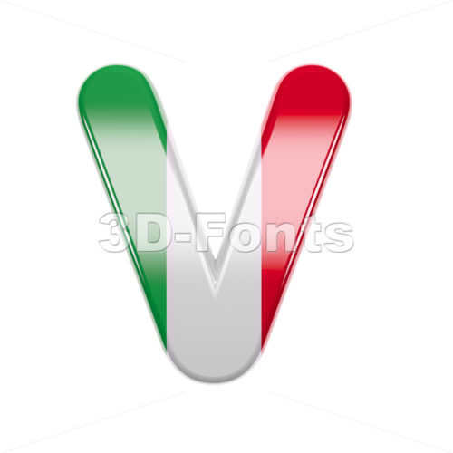 Capital italian flag letter V - Upper-case 3d character - 3d-fonts