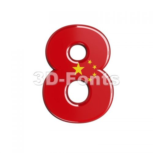 China digit 8 - 3d number - 3d-fonts