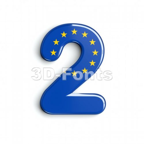 European union digit 2 - 3d number - 3d-fonts