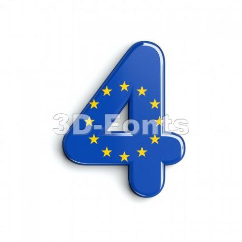 European union digit 4 - 3d number - 3d-fonts