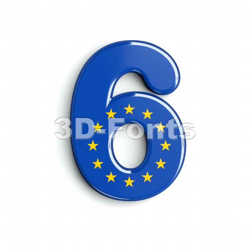 European union digit 6 - 3d number - 3d-fonts