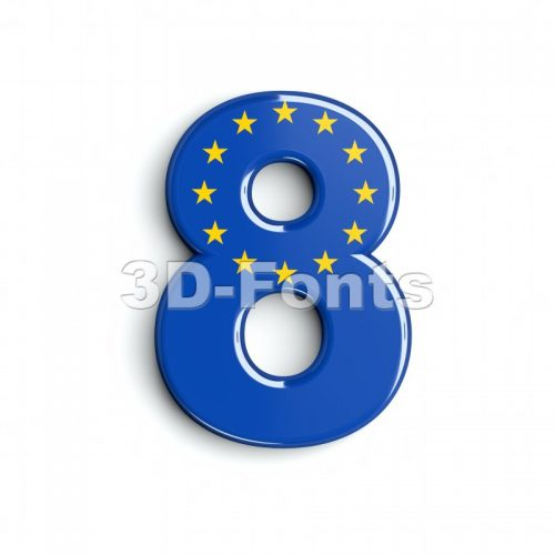 European union digit 8 - 3d number - 3d-fonts