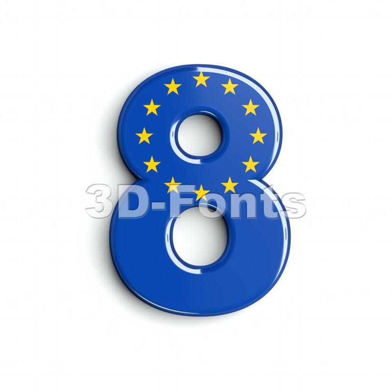 European union digit 8 - 3d number - 3d-fonts
