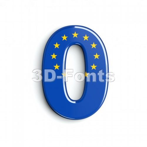 European union number 0 - 3d digit - 3d-fonts