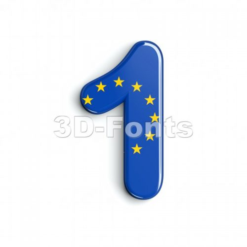 European union number 1 - 3d digit - 3d-fonts