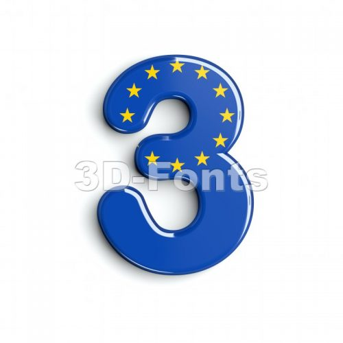 European union number 3 - 3d digit - 3d-fonts